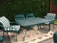 Patio set w/6 chairs, lounge, table, umbrella stand, all cushion