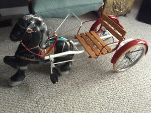 Rare 1940/50 pressed steel made in England pedal horse and cart.