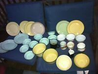 Large lot of enamel camping dishes