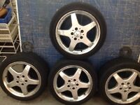 Mercedes 5 spoke alloy wheels with road legal tyres 5x112