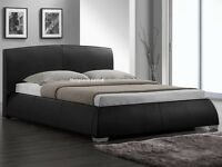 FANTESTIC AND GRAND BRAND NEW SPECIAL OFFER BED AND MATTRESS BLACK LEATHER