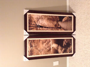 Set of sepia tone framed pictures