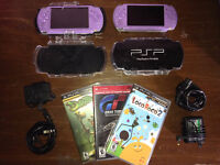 2 Sony PSP's - Includes chargers, cases and 3 games