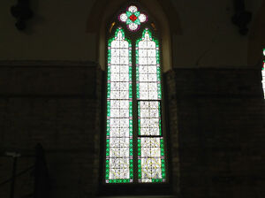 Painted stained church glass