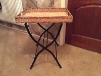 Wicker butler tray with folding stand