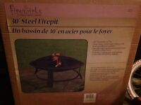 "30"" steel fire pit with screen-new in box"