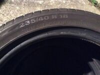 PAIR CONTINENTAL TYRES 235 / 40 / 18 91Y - part worn