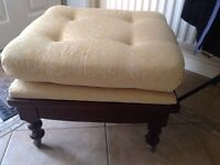 Footstool yellow fabric