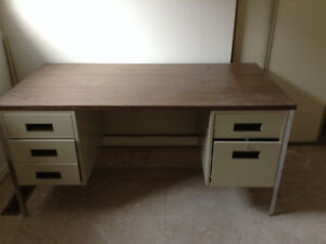 Strong Metal Desk with Wood Top