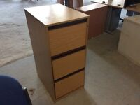 Oak three drawer filing cabinet