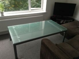 Large glass lounge coffee table