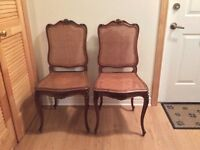 19th century Louis XV style walnut caned chairs