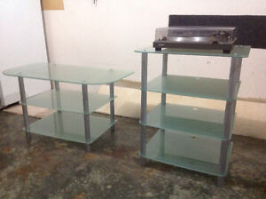 Glass tv and stereo stands