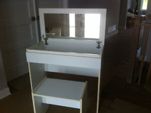 MAKE UP DESK with bench seat white