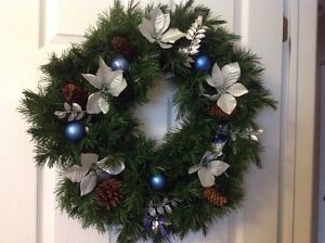 LARGE Lovely Blue And Silver Themed Christmas Wreath