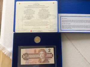 1996 RCM $2 PROOF COIN & BRX REPLACEMENT 1986 BANK NOTE SET