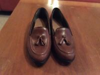 Brown leather loafers by Next