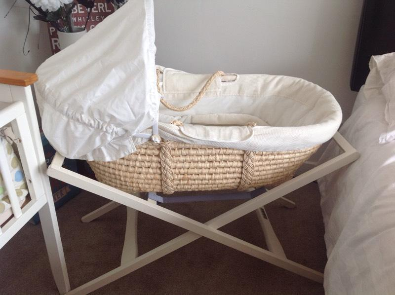 Mamas and papas Moses basket/stand/mattress and bedding | in Lisvane, Cardiff | Gumtree