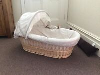 John Lewis wicker Moses basket, stand and additional mattress
