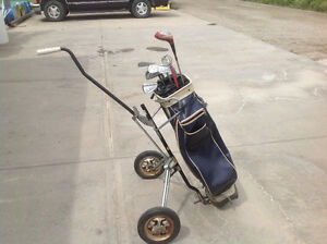 Vintage Clubs, Bag and Cart