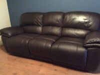 3 and 2 seater leather recliner sofas £350