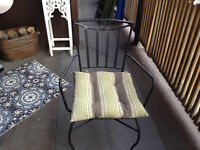 2 outdoor patio chairs with cushions