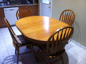 Antique Solid Oak Dining Table Set