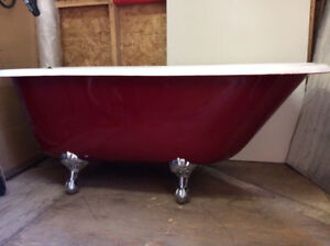 Cast Iron Tub  5 foot custom paint faucet and plumbing incl.