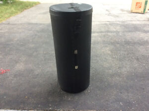 TALL ROUND BLACK STORAGE CONTAINER WITH HANDLE/STRAP/LOCK
