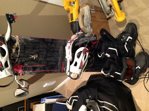 Snowboard, bindings, boots,goggles