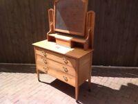 Antique oak Dresser table/Vanity chest