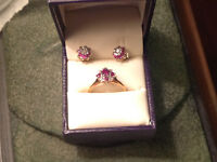 Diamond and Ruby ring and earring set