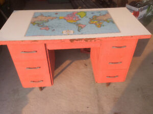 Desk  antique with map on top