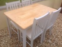 SOLID PINE BEECH DINING TABLE AND CHAIRS