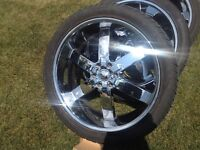 24'' chrome rims and brand new tires!! for chevy/gmc 6 bolt