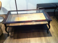 beautiful set of 3 tables with glass and ceramic