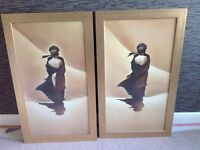 2 gold framed pictures , barker and stonehouse