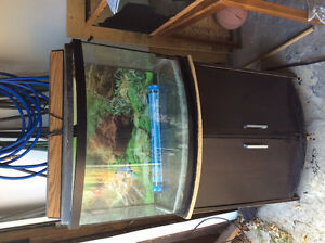 36gal Glass Bow Fish tank and Stand