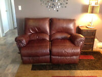 Genuine leather recliner love seat