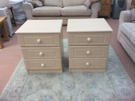 BEDSIDE DRAWERS MATCHING PAIR.