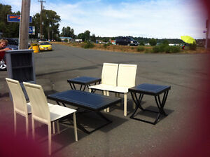 Super modern coffee, 2 side tables, and 4 chairs