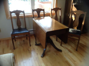 Antique Table With fold down sides & 4 Antique Oak Chairs
