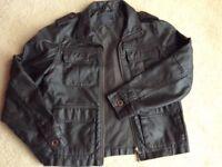 Boys black leather-effect jacket