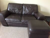 2 seater with pouffe leather sofa vgc