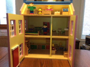 Wooden Doll House Set