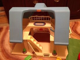 Vintage Little Tikes Mansion with Blue Roof
