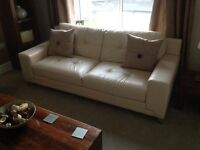 DFS Domain - 3 + 2 seater cream leather sofas NEW