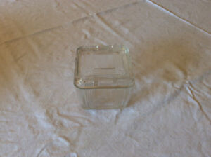 "Crystal cross cross refrigerator dish 4x4"" depression glass"
