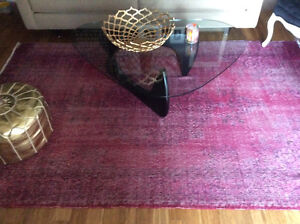 Large overdyed vintage area rug