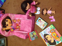 Dora toy lot with two DVDs